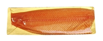 ATLANTIC SALMON FILLET, HIGH FAT! TRIM E, SKINLESS, VACUUM PACK ON GOLD BOARD